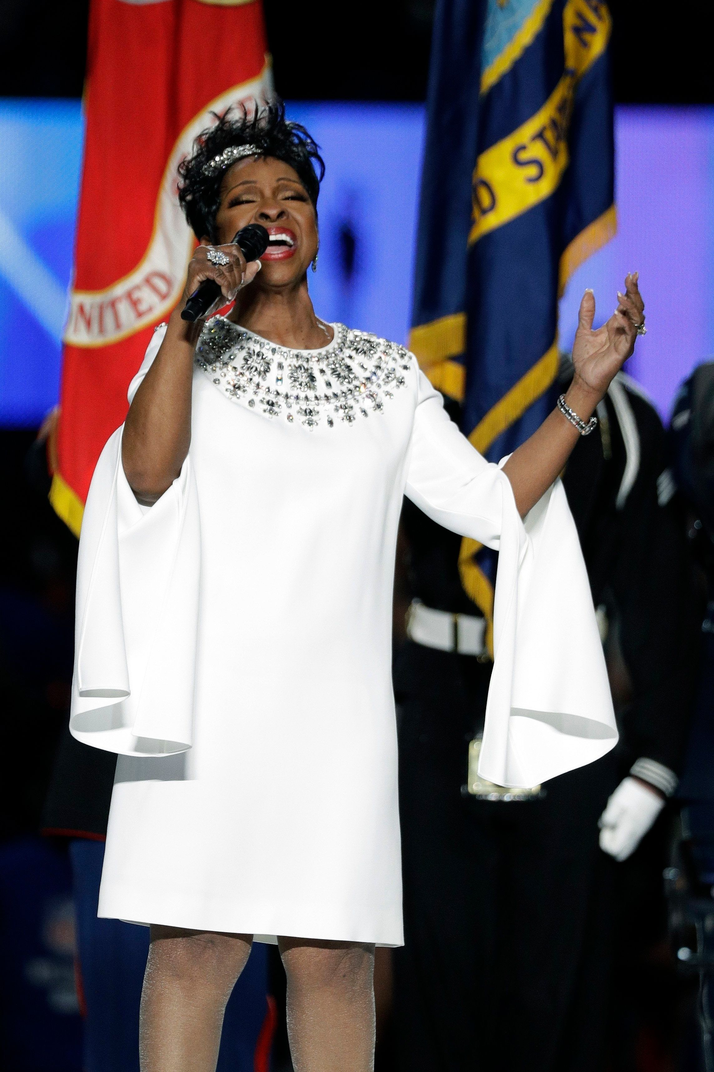 Gladys Knight singing the national anthem at Super Bowl LIII between the New England Patriots and the Los Angeles Rams in Atl