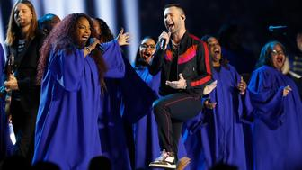NFL Football - Super Bowl LIII Halftime Show - New England Patriots v Los Angeles Rams - Mercedes-Benz Stadium, Atlanta, Georgia, U.S. - February 3, 2019. Adam Levine of Maroon 5 performs during the halftime show. REUTERS/Kevin Lamarque