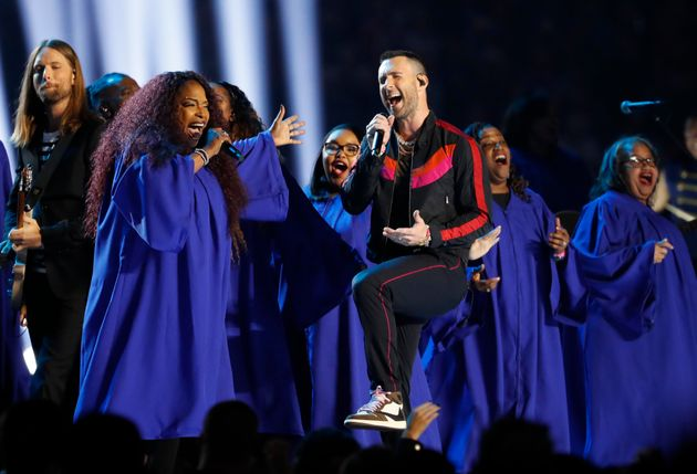Maroon 5 singer Adam Levine on stage at the Super Bowl halftime show on