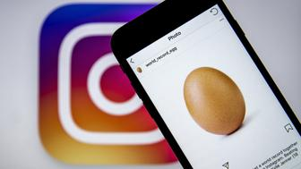 ANKARA, TURKEY - JANUARY 14: A photo of an egg, the most liked post on the Instagram, is seen on a smart phone as the logo of the Instagram is seen on the background in Ankara, Turkey on January 14, 2019. (Photo by Ali Balikci/Anadolu Agency/Getty Images)