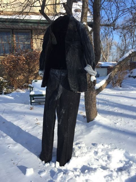 Tom Grotting of Minneapolis branched out from freezing jeans this year to freeze a tuxedo.