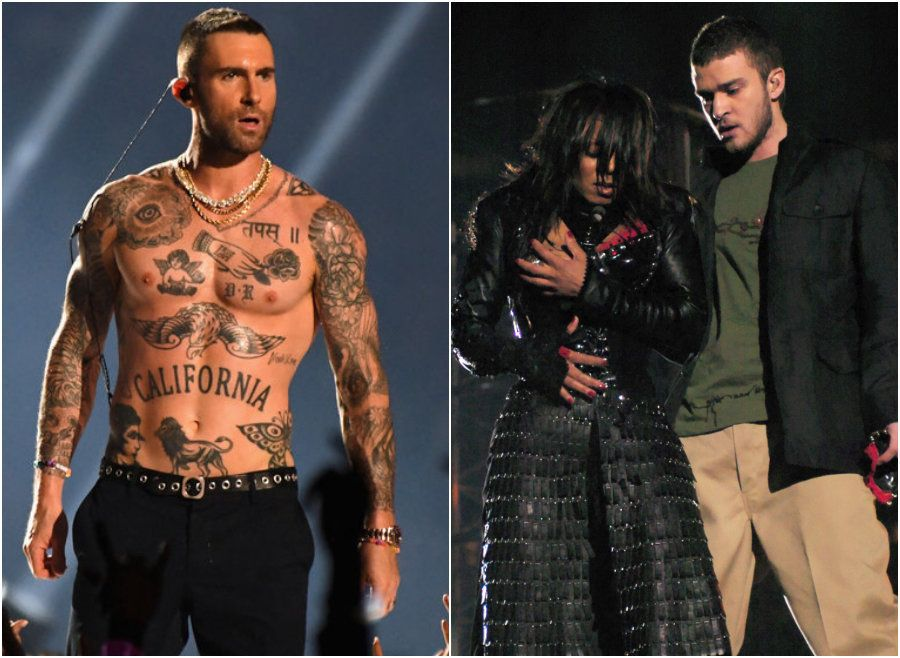 Super Bowl Viewers Note Nipple Double Standards As Adam Levine Goes Shirtless 15 Years After Janet Jackson