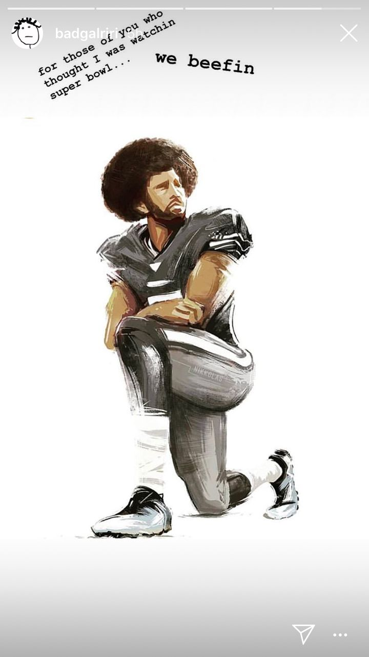 On game day, Rihanna posted this Nikkolas Smith portrait of Colin Kaepernick, who has faced major pushback from NFL owne