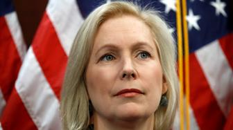 "Sen. Kirsten Gillibrand, D-N.Y., attends a news conference, Tuesday, Dec. 12, 2017, on Capitol Hill in Washington. Gillibrand says President Donald Trump's latest tweet about her was a ""sexist smear"" aimed at silencing her voice.  (AP Photo/Jacquelyn Martin)"
