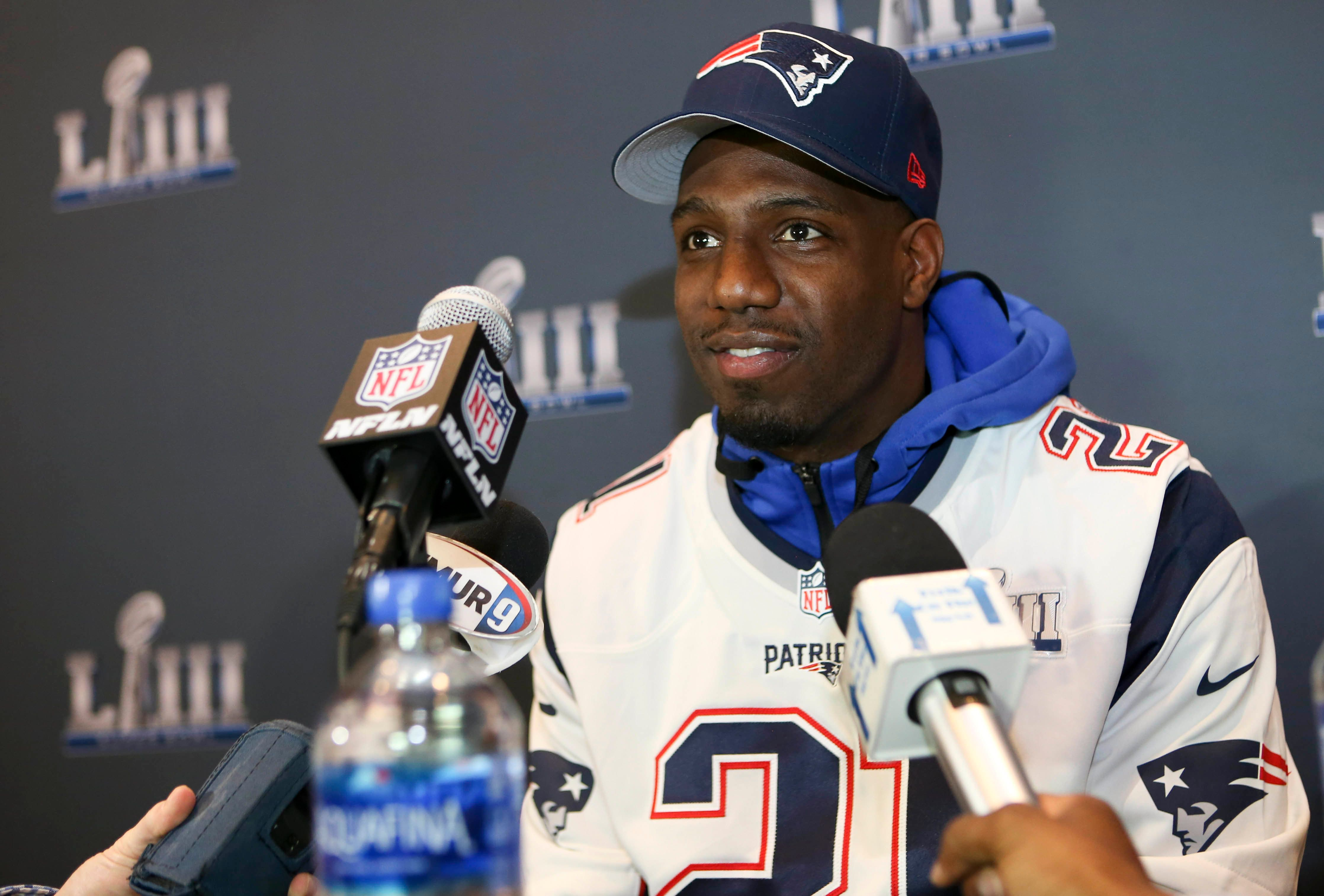 Jan 31, 2019; Atlanta, GA, USA; New England Patriots strong safety Duron Harmon (21) addresses the media at a press conference for Super Bowl LIII at Hyatt Regency Atlanta. Mandatory Credit: Brett Davis-USA TODAY Sports