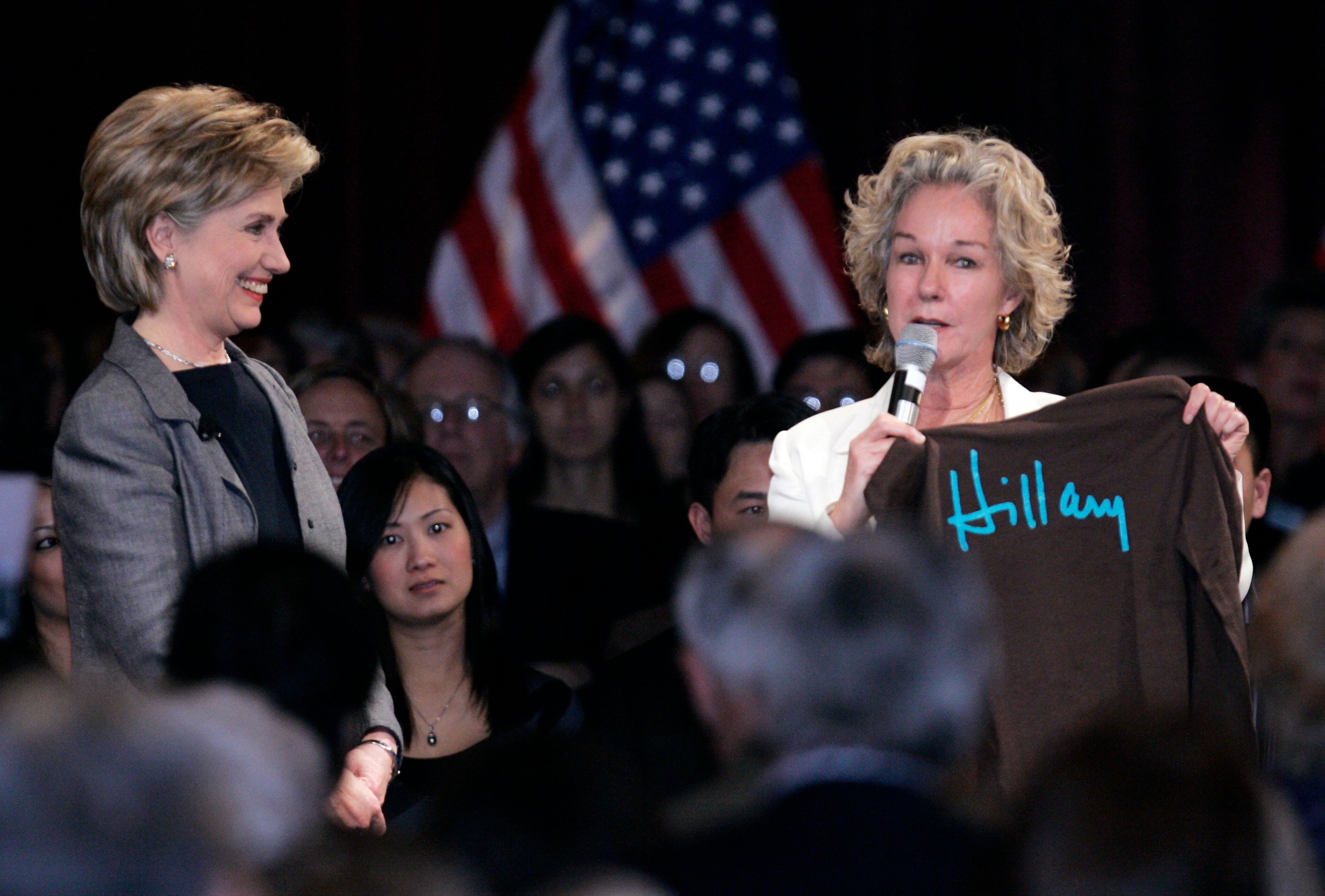 Top Democratic donor Susie Tompkins Buell of California (right), has decided to support Sen. Kamala Harris...