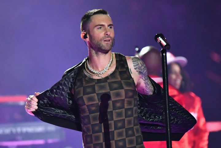 Adam Levine performing at the Super Bowl Half Time show on Sunday, Feb. 3, 2019.