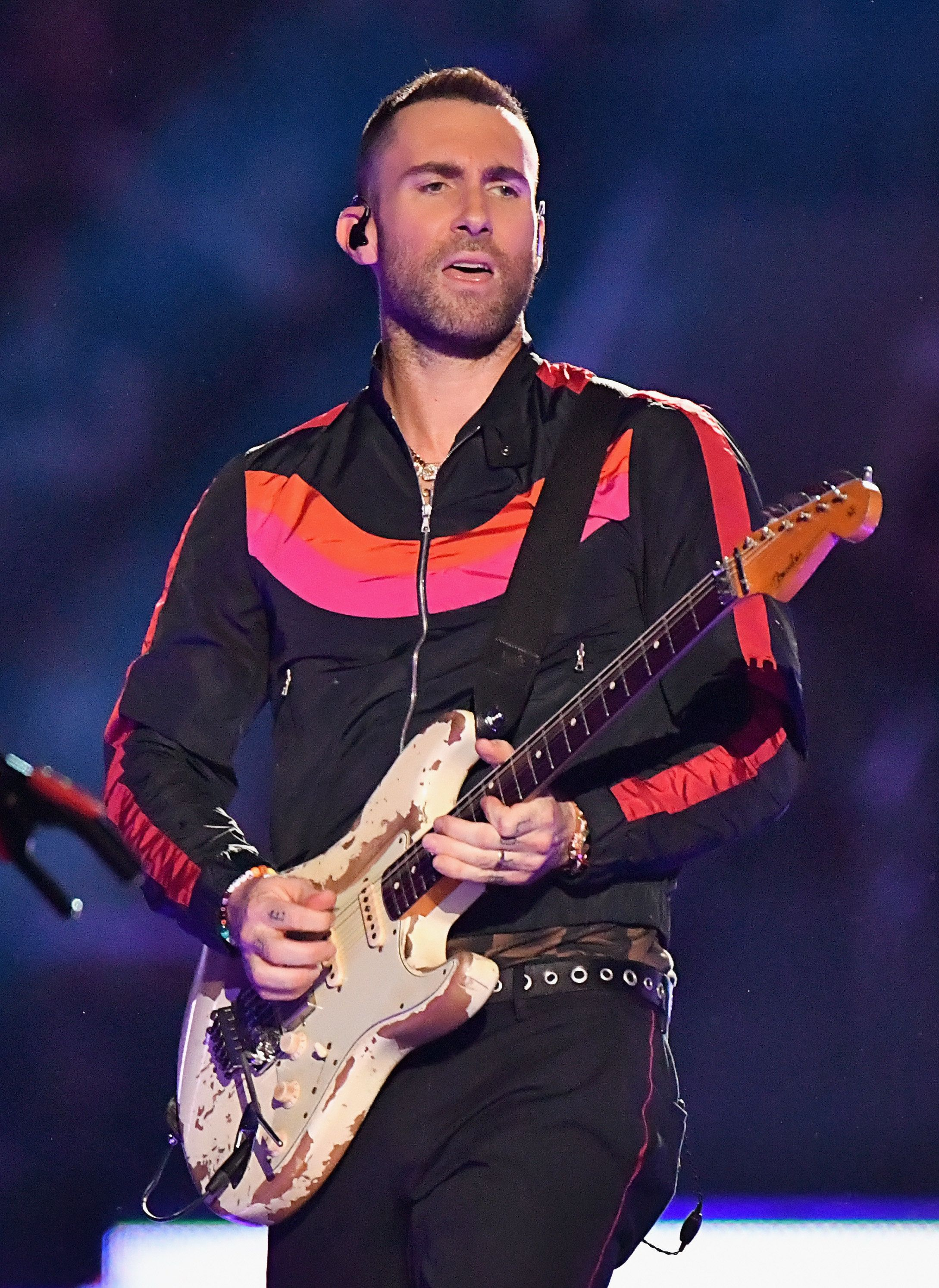 ATLANTA, GA - FEBRUARY 03:  Adam Levine of Maroon 5 performs during the Pepsi Super Bowl LIII Halftime Show at Mercedes-Benz Stadium on February 3, 2019 in Atlanta, Georgia.  (Photo by Jeff Kravitz/FilmMagic)
