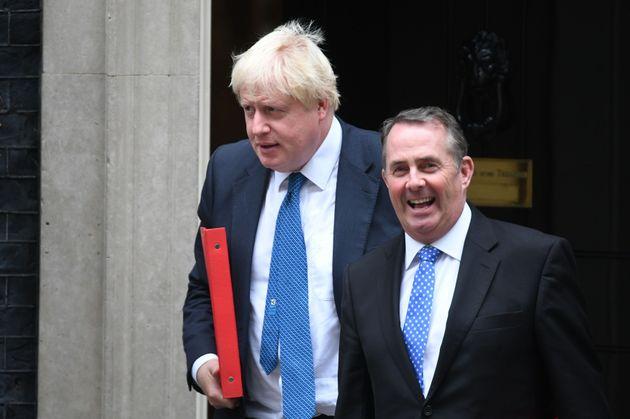 Liam Fox (R) with former foreign secretary Boris