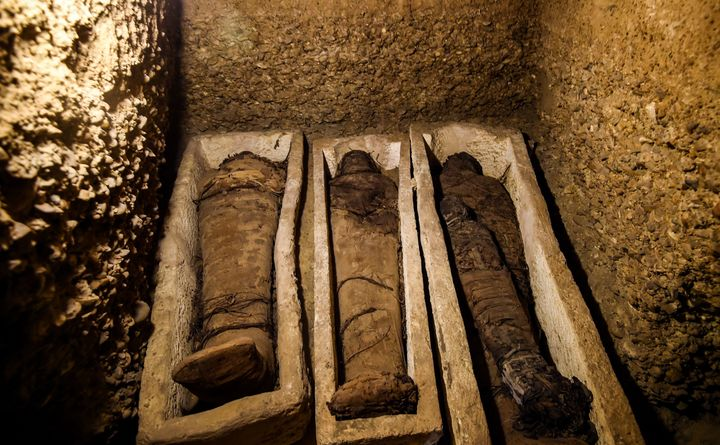 Some of the mummies were buried inside eitherstone or wooden sarcophagi while others were buried in sand or on the floo