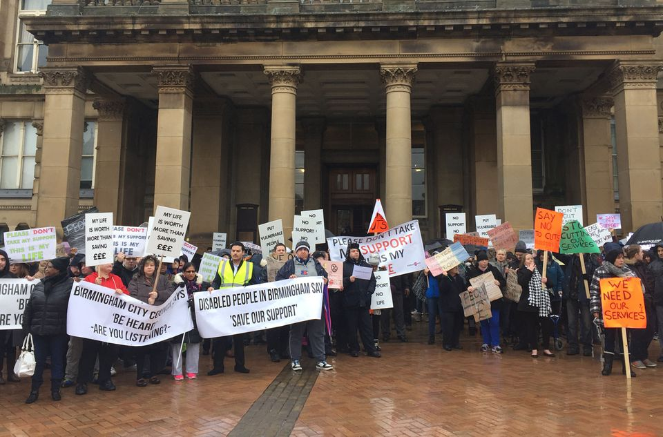 People protesting against Birmingham City Council cuts in