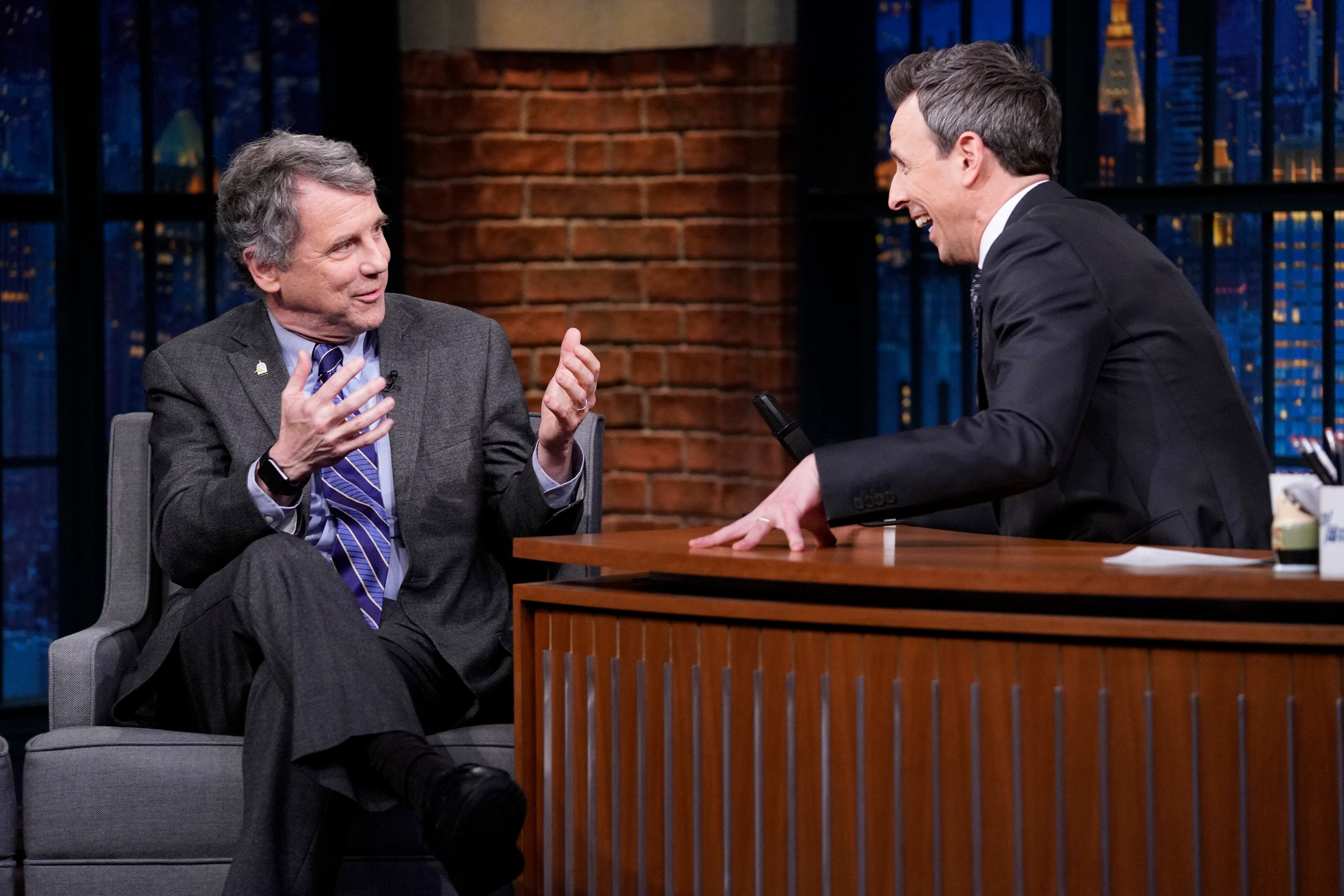 "Sen. Sherrod Brown (D-Ohio) on ""Late Night With Seth Meyers"" on Jan. 23. Brown, who previously supported ""Medicare for all,"" now says he wants to focus on narrower ideas, like opening up Medicare to near-retirees, because they are more politically realistic."