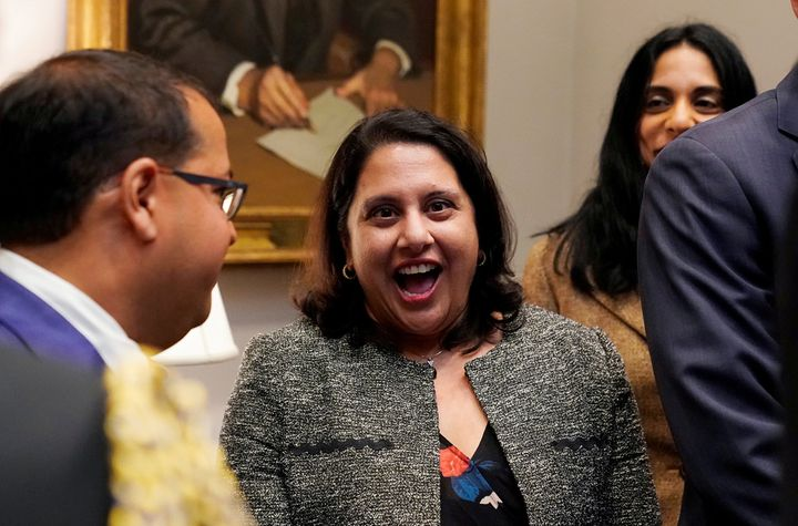 Neomi Rao reacts to President Donald Trump announcing that she is his choice for filling Brett Kavanaugh's former seat on the