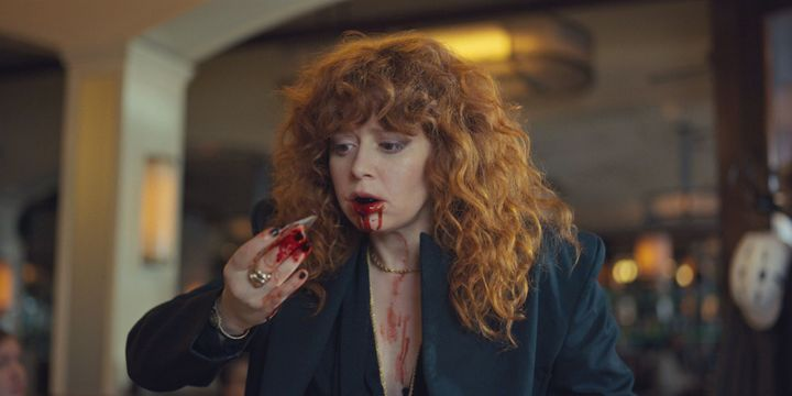 "Nadia (Natasha Lyonne) puking up mirror shards in ""Russian Doll."""