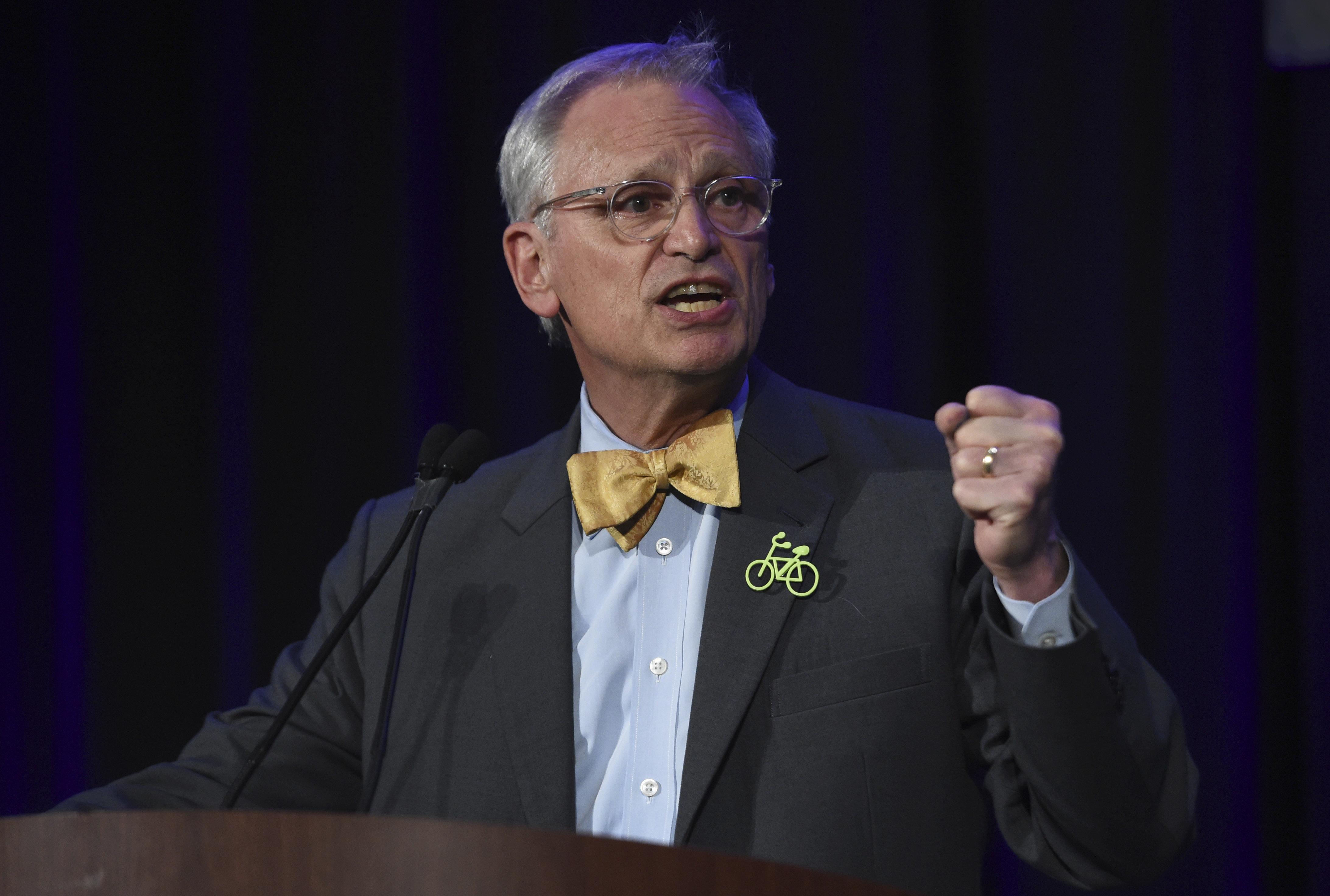 Congressman Earl Blumenauer speaks during election night in Portland, Ore., Tuesday, Nov. 6, 2018. (AP Photo/Steve Dykes)