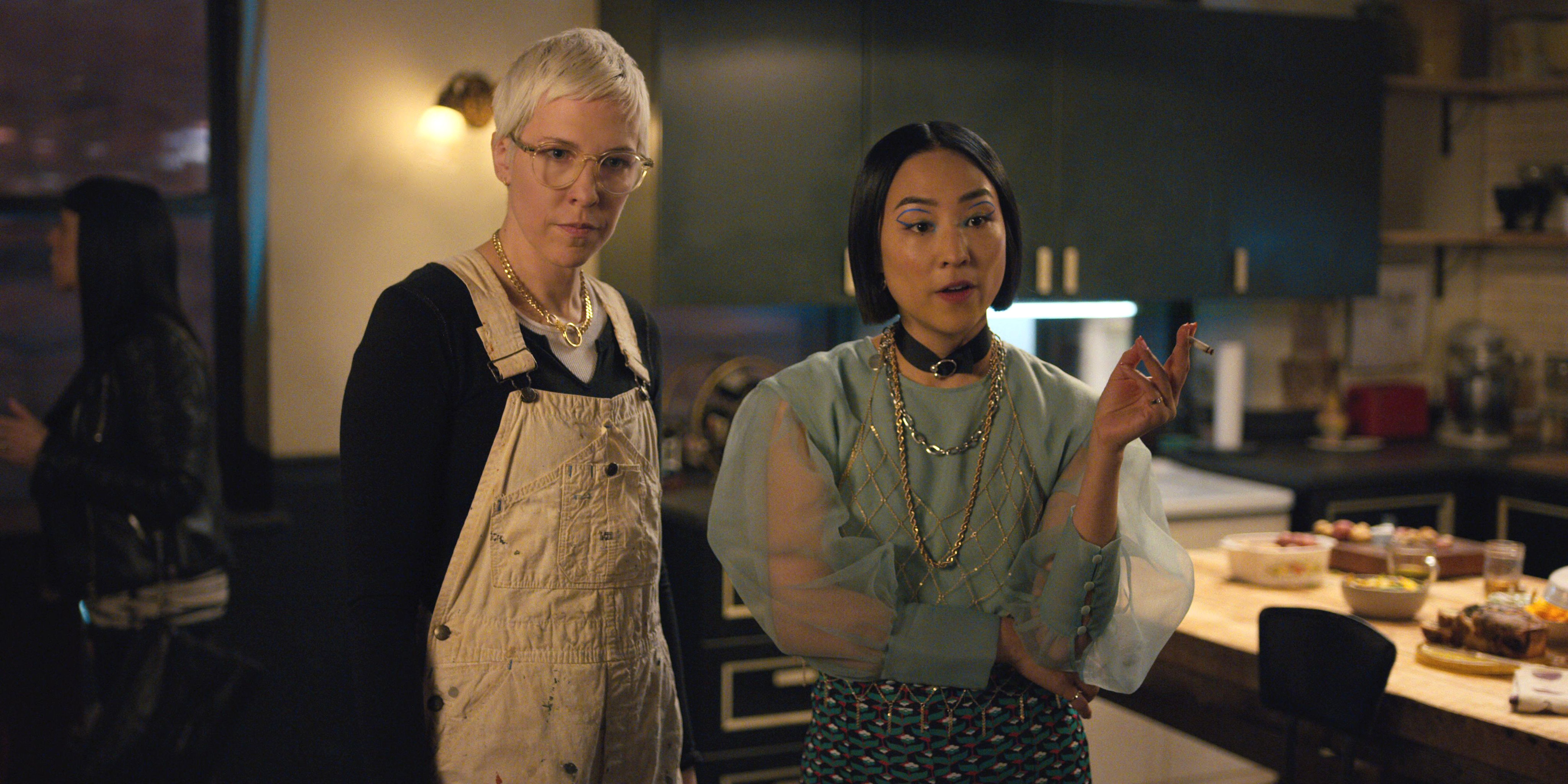 """Rebecca Henderson and Greta Lee are party animals in """"Russian Doll."""""""
