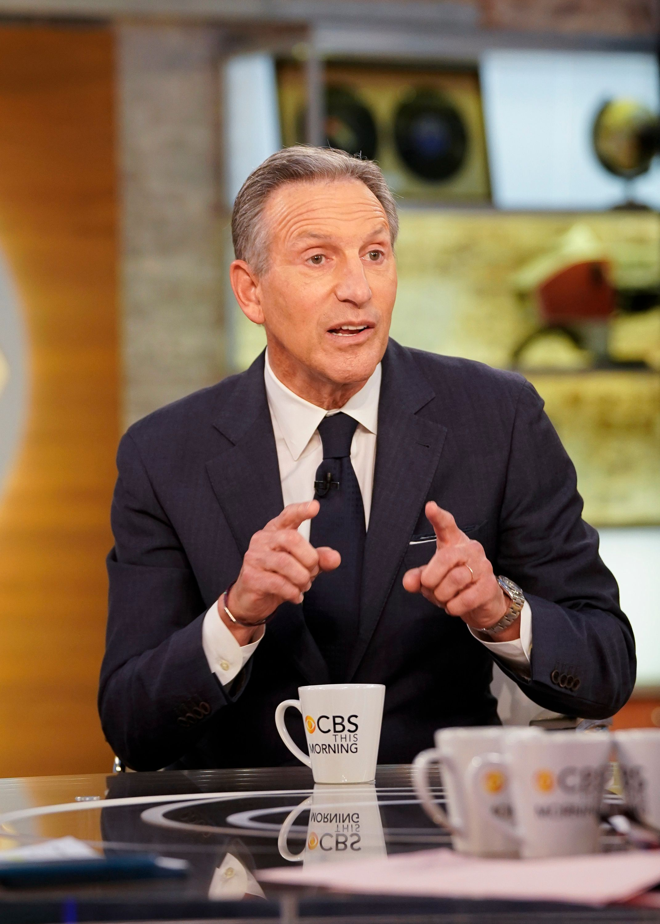 NEW YORK - JANUARY 29: Howard Schultz guest stars on CBS This Morning with Co-Anchors: Norah O'Donell, John Dickerson and Bianna Golodryga. (Photo by Michele Crowe/CBS via Getty Images)