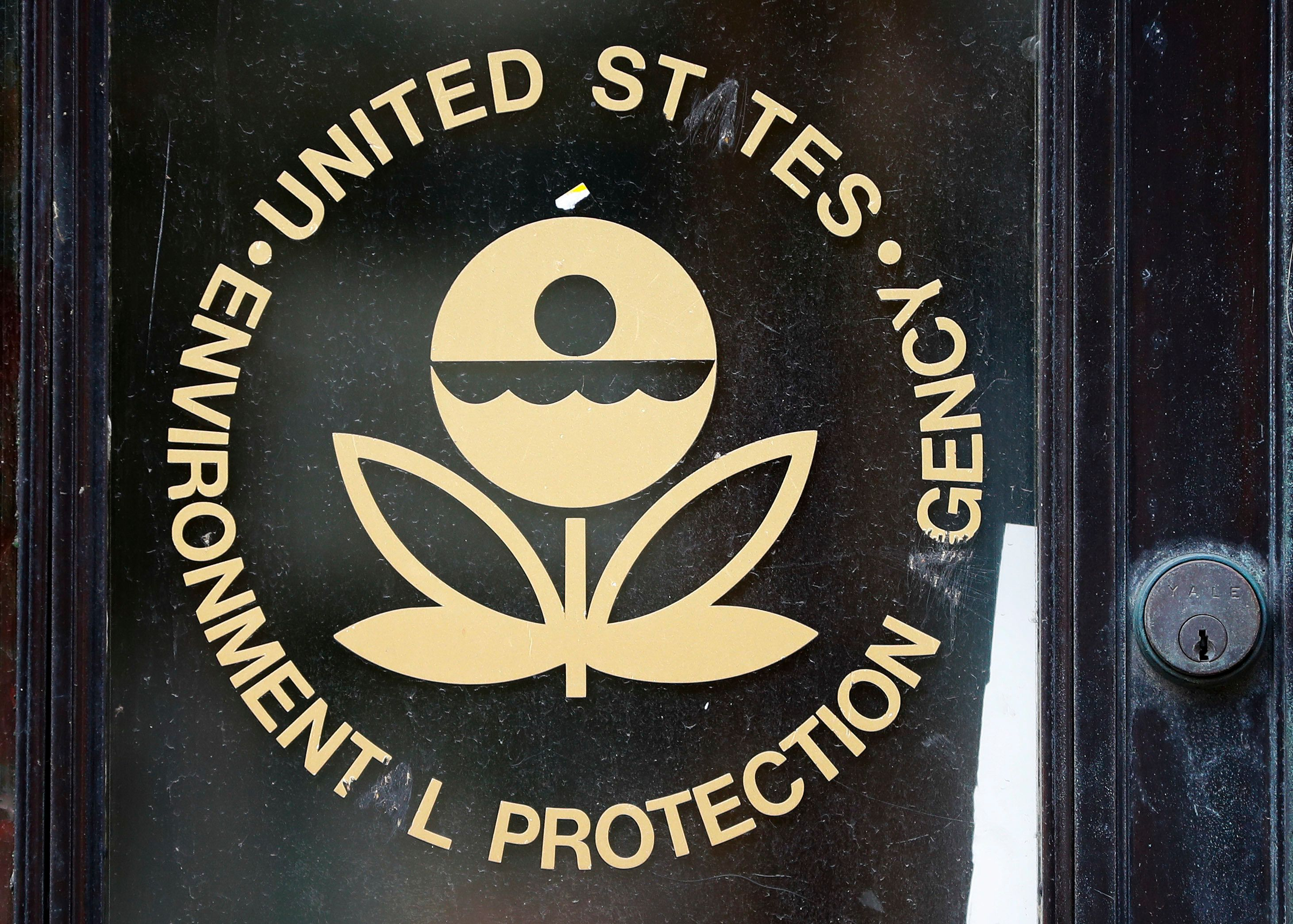 Logo for the EPA with the letters 'A' scratched out at the Environmental Protection Agency Building in Washington, Thursday, Sept. 21, 2017. (AP Photo/Pablo Martinez Monsivais)