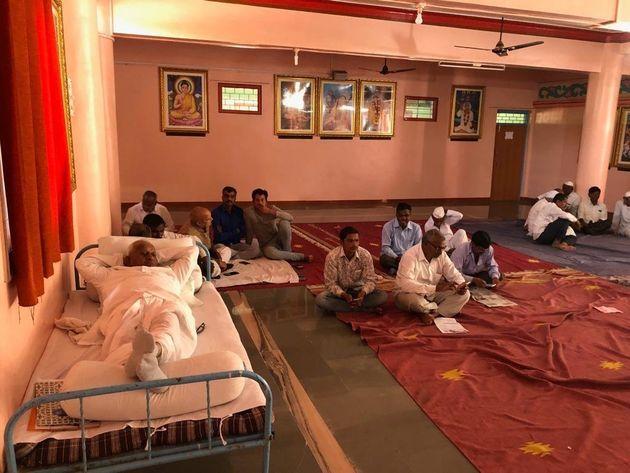 Anna Hazare at Yadav Baba temple in Ralegan Siddhi village of Maharashtra during the hunger