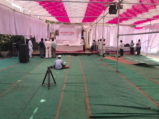 The Pandal outside Yadav Baba temple in Ralegan Siddhi where Anna Hazare is sitting on hunger strike....