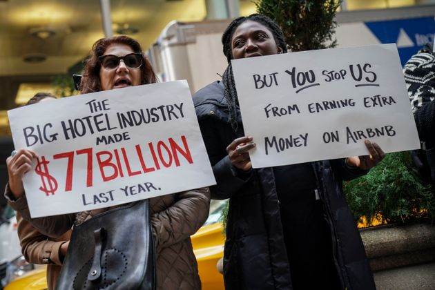 Supporters of Airbnb outside the InterContinental New York Barclay Hotel in November 2018, where global...