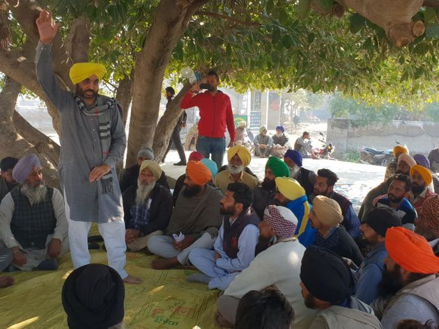 AAP Punjab President and Sangrur MP Bhagwant Maan at a 'sath' in village Bhaini Mehraj in district