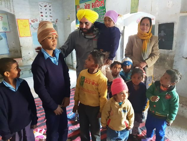 Maan with special children at a government school in village Bhullar