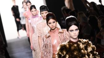 PARIS, FRANCE - JULY 04: Models walk the runway during the finale of the Fendi Couture Haute Couture Fall Winter 2018/2019  show as part of Paris Fashion Week on July 4, 2018 in Paris, France. (Photo by Victor Boyko/Getty Images)