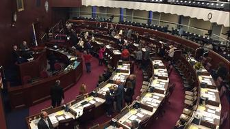Assembly members gather before the Nevada State Assembly in Carson City, Nev., Monday, Feb. 4, 2019. Nevada's legislature will start its session Monday as the first overall female majority legislature in U.S. history. (AP Photo/Ryan Tarinelli)