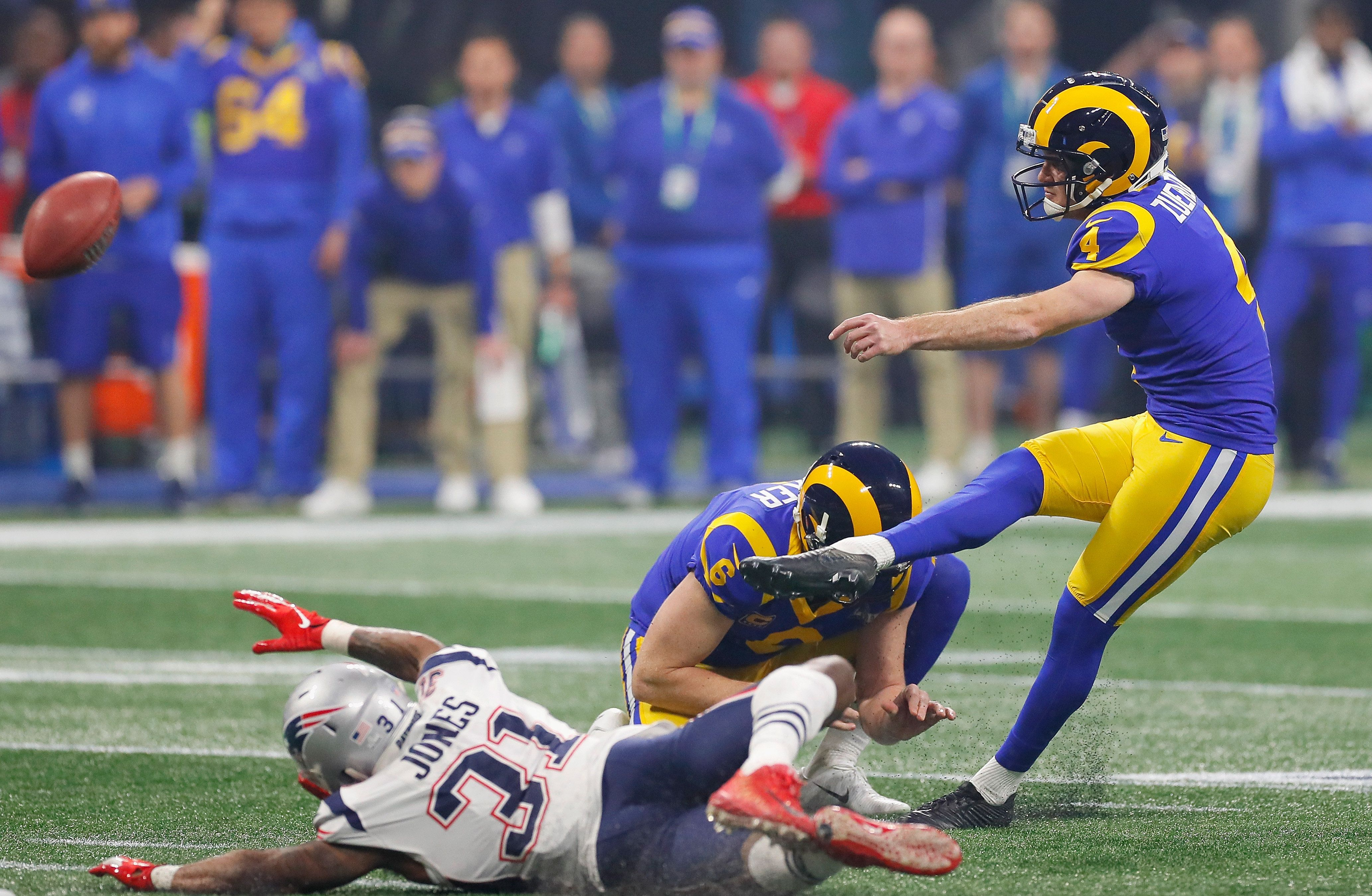 ATLANTA, GA - FEBRUARY 03:  Greg Zuerlein #4 of the Los Angeles Rams kicks a 53-yard field goal to tie the game 3-3 during the third quarter at Super Bowl LIII at Mercedes-Benz Stadium on February 3, 2019 in Atlanta, Georgia.  (Photo by Kevin C. Cox/Getty Images)