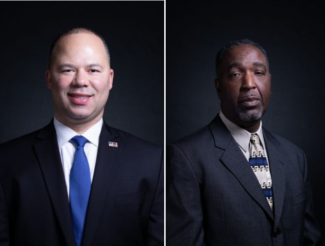 Department of Homeland Security Special Agent Elvin Hernandez and lumber plant manager Roy James complete Trump's guest list