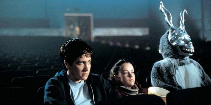 "Gyllenhaal, Jena Malone and the rabbit in ""Donnie Darko."""