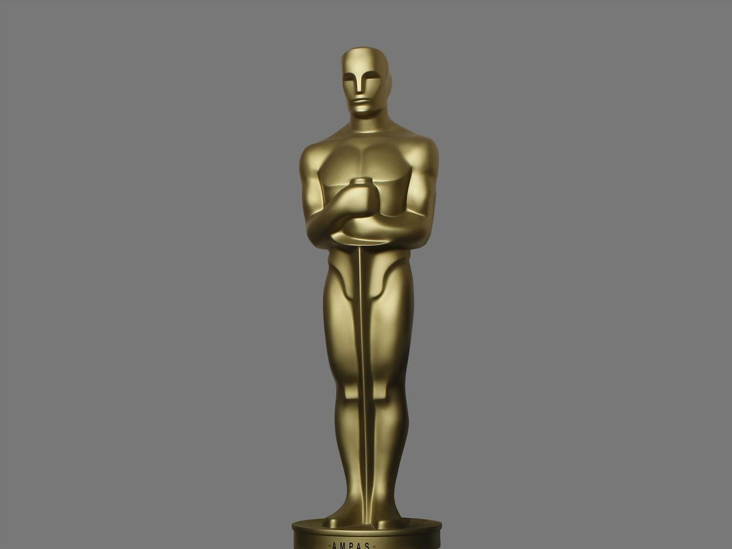 Oscar statue, graphic element on gray