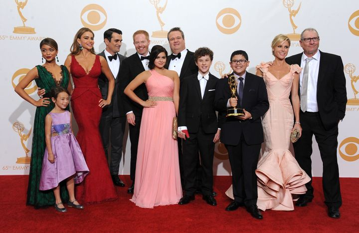 "The cast of ""Modern Family"" after winning the fourth of its five Outstanding Comedy Series Emmys in Los Ange"