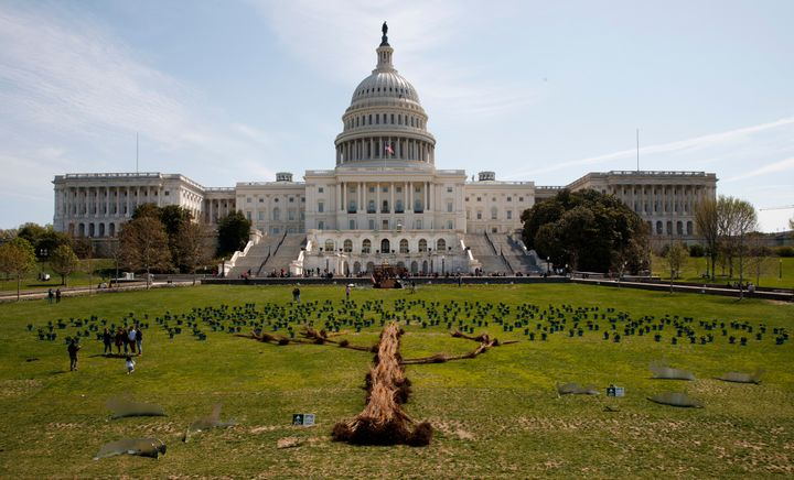 A tree art installation made up of individual trees and hydrangeas is arranged in front of the U.S. Capitol on April 22, 2018