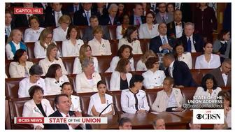 Democratic lawmakers were generally solemn during President Donald Trump's State of the Union speech, but they did give a standing ovation for women in the workforce.