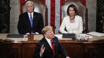 U.S. President Donald Trump delivers a State of the Union address to a joint session of Congress at the U.S. Capitol in Washington, D.C., U.S., on Tuesday, Feb. 5, 2019. President Donald Trump cast his fight against illegal migration to the U.S. as a moral struggle, and charged in his second State of the Union address that partisan investigations threaten economic progress under his administration. Photographer: Aaron P. Bernstein/Bloomberg via Getty Images