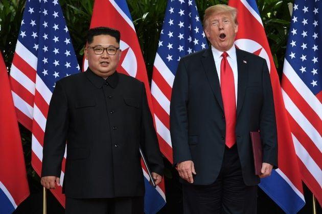 Kim Jong-un andDonald Trump during the Singapore