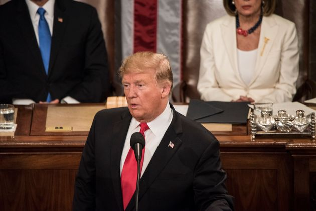 Donald Trump during the annual address to