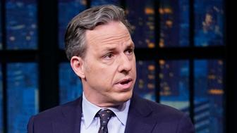 LATE NIGHT WITH SETH MEYERS -- Episode 793 -- Pictured: (l-r) Host of The Lead, Jake Tapper, during an interview on February 4, 2019 -- (Photo by: Lloyd Bishop/NBC/NBCU Photo Bank via Getty Images)