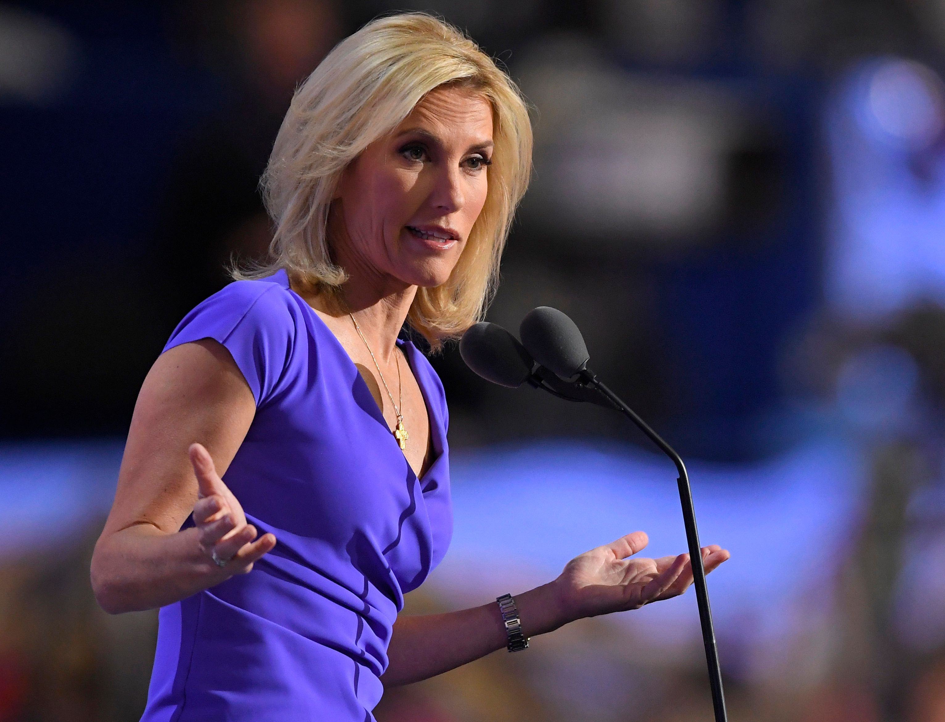 "FILE - In this Wednesday, July 20, 2016, file photo, conservative political commentator Laura Ingraham speaks during the third day of the Republican National Convention in Cleveland. Ingraham returned to Fox News Channel, Monday, April 9, 2018, with a passionate speech about what she called ""Stalinist"" liberal bullies attempting to stifle the free speech of conservatives. Several advertisers have dropped her program after she tweeted about a Parkland, Florida school shooting survivor supposedly whining about colleges he didn't get accepted into. (AP Photo/Mark J. Terrill, File)"