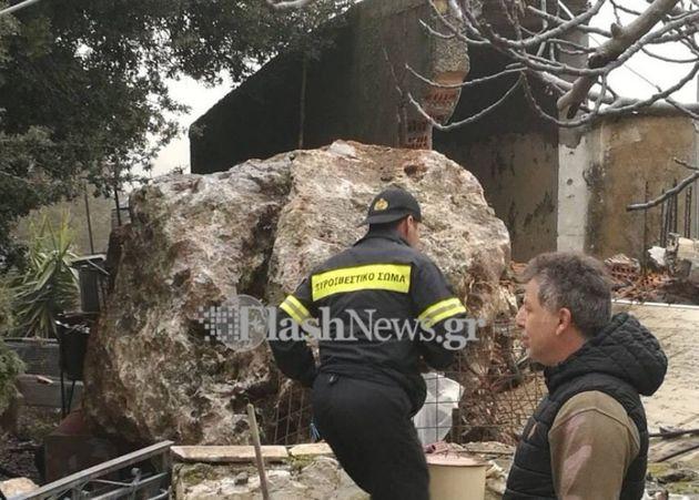 Σφακιά: Γλύτωσε από θαύμα όταν έπεσε βράχος 25 τόνων στο σπίτι