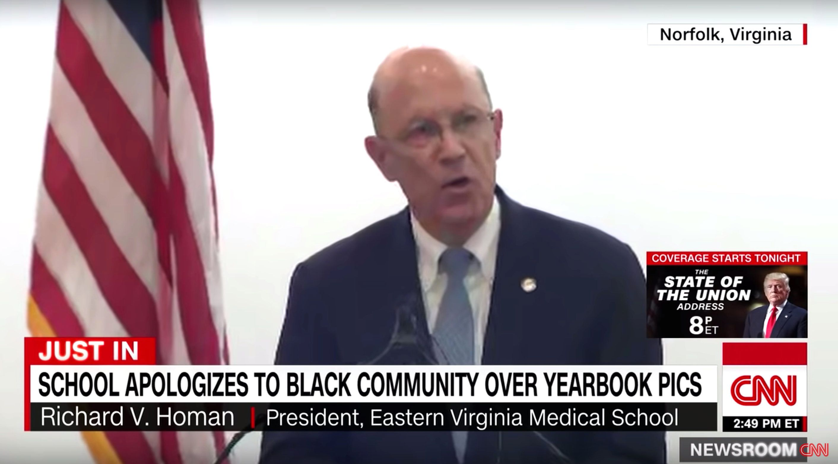 Eastern Virginia Medical School apologized Tuesday for its old racist yearbook photos after state Gov. Ralph Northam was thought to be in one of them showing a man in blackface next to another in Ku Klux Klan attire.