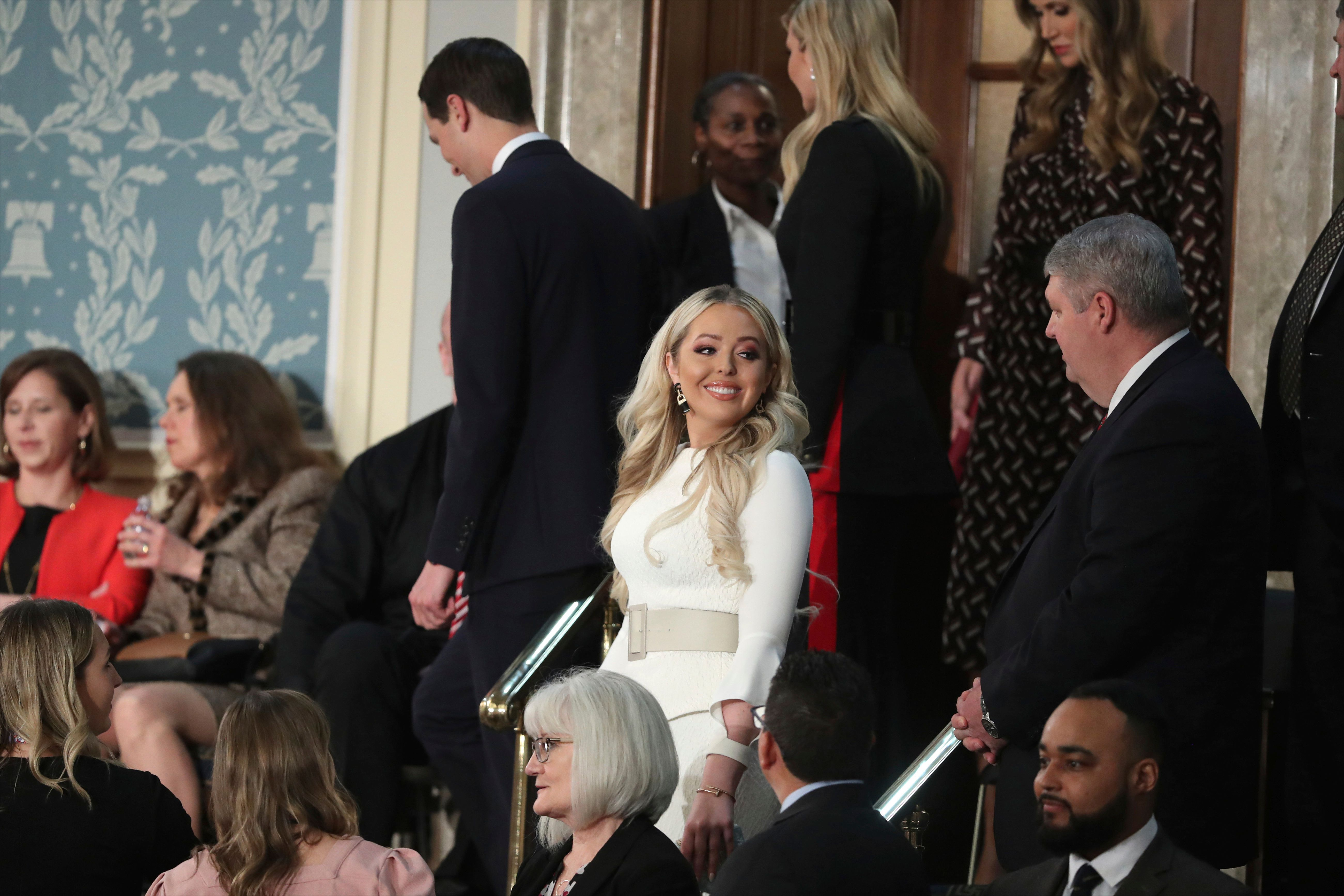 Tiffany Trump, front center, arrives to hear President Donald Trump deliver his State of the Union address to a joint session of Congress on Capitol Hill in Washington, Tuesday, Feb. 5, 2019. (AP Photo/Andrew Harnik)