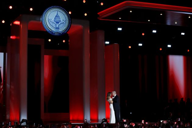 President Donald Trump dances with first lady Melania Trump at the Liberty Ball in Washington, just one...