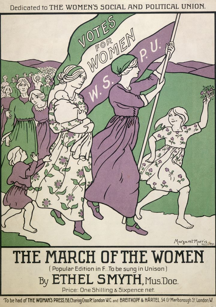 "Songsheet of ""The March of the Women,"" from 1911. The songsheet is colored in the suffrage colors: purple, white and green. This anthem was written by Ethel Smyth in 1911 and was dedicated to Emmeline Pankhurst, a leading campaigner in the suffrage movement."