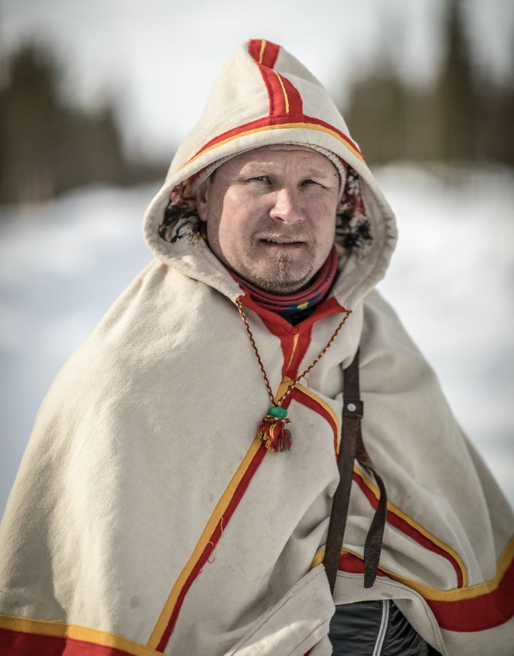Lars-Ánte Kuhmunen a Sámi reindeer herder and community leader in northern Sweden, lost much of his herd last y
