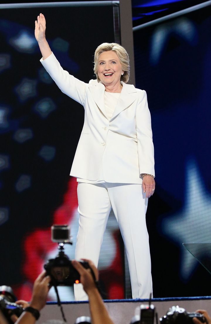 Democratic presidential candidate Hillary Clinton acknowledges the crowd at the end on the fourth day of the Democratic National Convention at the Wells Fargo Center, July 28, 2016, in Philadelphia.