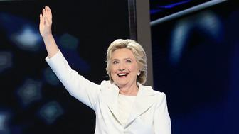 PHILADELPHIA, PA - JULY 28:  Democratic presidential candidate Hillary Clinton acknowledges the crowd at the end on the fourth day of the Democratic National Convention at the Wells Fargo Center, July 28, 2016 in Philadelphia, Pennsylvania. An estimated 50,000 people are expected in Philadelphia, including hundreds of protesters and members of the media. The four-day Democratic National Convention kicked off July 25.  (Photo by Paul Morigi/WireImage)