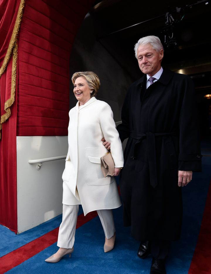 Former U.S. President Bill Clinton and First Lady Hillary Clinton arrive for the Presidential Inauguration of Donald Trump on Jan. 20, 2017, in Washington, D.C.